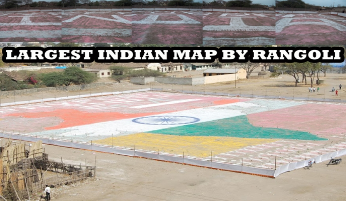 A00062  LARGEST INDIAN MAP BY RANGOLI