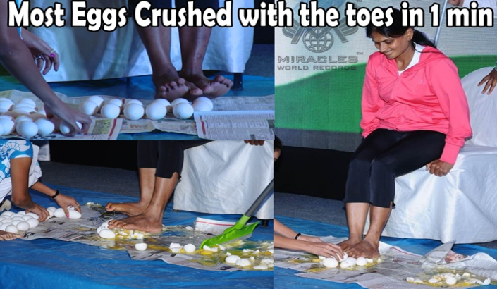Most Eggs Crushed with the toes in 1 min