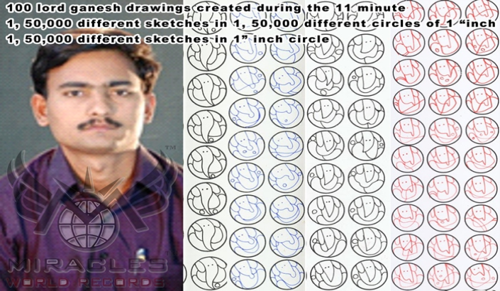 "1) 100 lord ganesh drawings created during the 11 minute  2) 1, 50,000 different sketches in 1, 50,000 different circles of 1 ""inch 3)1, 50,000 different sketches in 1"" inch circle"