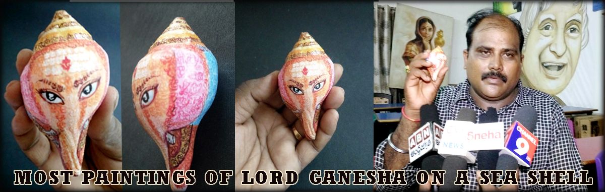 MOST PAINTINGS OF LORD GANESHA ON A SEA SHELL