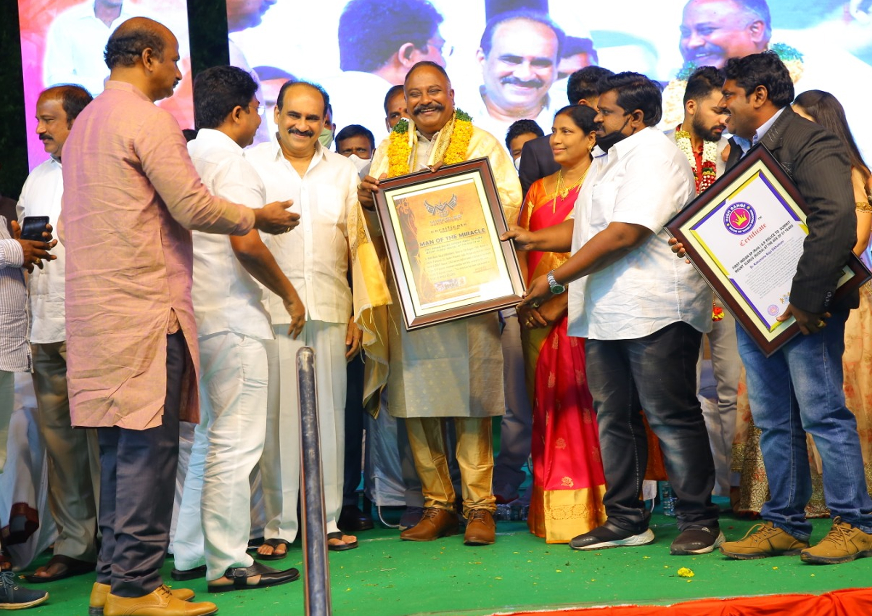 A.P Ministers BALINENI. SRINIVASA REDDY Gaaru & ADIMULAM. SURESH Gaaru, Santhanuthalapadu MLA T.J.R SUDHAKAR Gaaru & ( THIMMIRI RAVEENDRA , T.BHANUCHANDAR as a miracles india jury team) Presented MIRACLES WORLD RECORDS Gold medal , Certificate to KAKUMANU RAJASIKHAMNI Gaaru for CLIMB MOUNT ELBRUS (RUSSIA) AT THE AGE OF 60'S, , FIRST INDIAN POLICE OFFICER (Retd.)